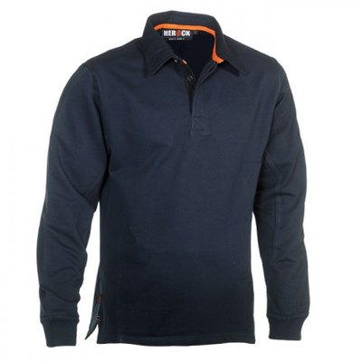 HEROCK TROJA POLO SWEATER NAVY BORDUREN