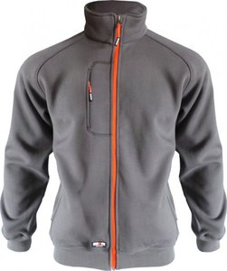 Sweater met lange rits Versterkte elleboogstukken 1 borstzak 2 steekzakken Ribmanchetten en -onderkant Verwijderbaar ritslipje